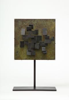 Brutalist Bronze Piece on Stand 20th Century - 1327151