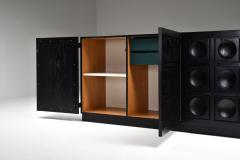 Brutalist Credenza in Black Stained Oak 1970s - 1999114