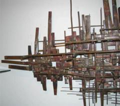 Brutalist Deconstructivist Wall Sculpture patinated brass signed Dan Ben Shmuel - 1192201