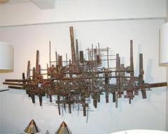 Brutalist Deconstructivist Wall Sculpture patinated brass signed Dan Ben Shmuel - 1192202