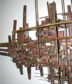 Brutalist Deconstructivist Wall Sculpture patinated brass signed Dan Ben Shmuel - 1192204