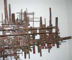 Brutalist Deconstructivist Wall Sculpture patinated brass signed Dan Ben Shmuel - 1192205