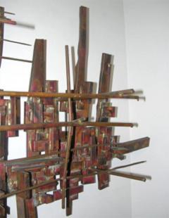 Brutalist Deconstructivist Wall Sculpture patinated brass signed Dan Ben Shmuel - 1192206