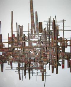 Brutalist Deconstructivist Wall Sculpture patinated brass signed Dan Ben Shmuel - 1192207