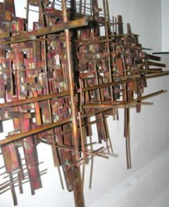 Brutalist Deconstructivist Wall Sculpture patinated brass signed Dan Ben Shmuel - 1192208