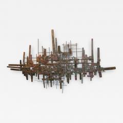 Brutalist Deconstructivist Wall Sculpture patinated brass signed Dan Ben Shmuel - 1193835