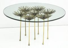 Brutalist Gilt Floral Table with Glass Top in the Manner of Seandel or Jere - 734592