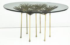Brutalist Gilt Floral Table with Glass Top in the Manner of Seandel or Jere - 734593