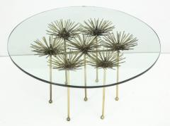 Brutalist Gilt Floral Table with Glass Top in the Manner of Seandel or Jere - 734594