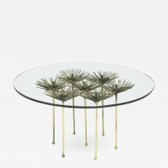 Brutalist Gilt Floral Table with Glass Top in the Manner of Seandel or Jere - 734854