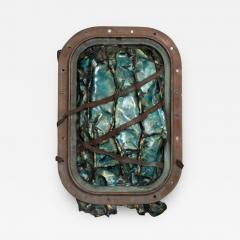 Brutalist Modern Abstract Enamel Sculpture Aqua on Copper by JoAnn Tanzer Calif - 1543601