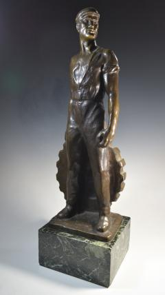 Brutalist Social Realist Male Industrial Worker Bronze Sculpture - 1392924