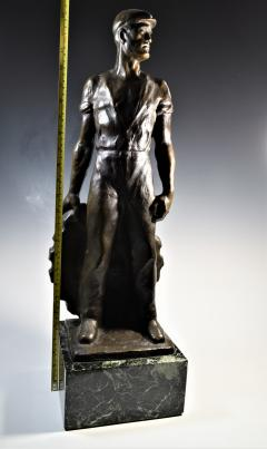 Brutalist Social Realist Male Industrial Worker Bronze Sculpture - 1392928