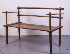 Brutalist rarest mahogany 2 seat settee bench - 1702924