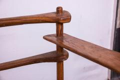 Brutalist rarest mahogany 2 seat settee bench - 1702937
