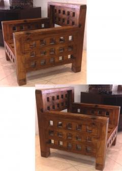 Brutalist superb design rarest pair of solid chestnut tree chairs - 1458465