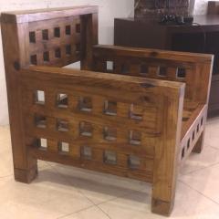 Brutalist superb design rarest pair of solid chestnut tree chairs - 1458466