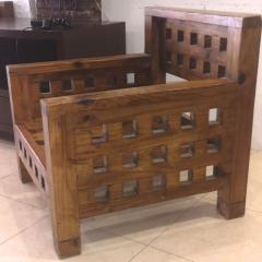 Brutalist superb design rarest pair of solid chestnut tree chairs - 1458467