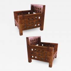 Brutalist superb design rarest pair of solid chestnut tree chairs - 1461797