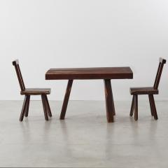 Brutalist table and chairs set Mobichalet Belgium c1950s - 1897954