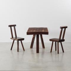 Brutalist table and chairs set Mobichalet Belgium c1950s - 1897955