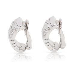 Bulgari Parentesi Diamond Earrings in 18K White Gold 0 5 CTW - 1364345