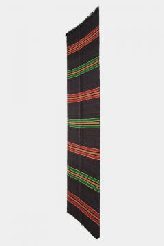 Bulgarian Tcerga runner hand woven red green black 60s - 1891003