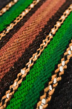Bulgarian Tcerga runner hand woven red green black 60s - 1891005