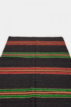 Bulgarian Tcerga runner hand woven red green black 60s - 1891013
