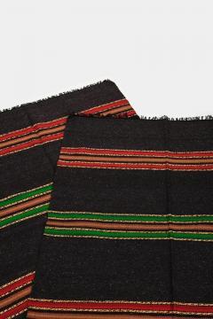 Bulgarian Tcerga runner hand woven red green black 60s - 1891014