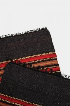 Bulgarian Tcerga runner hand woven red green black 60s - 1891016