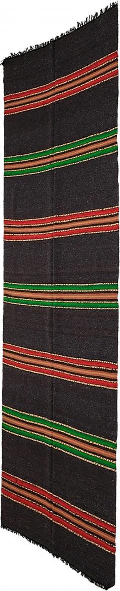 Bulgarian Tcerga runner hand woven red green black 60s - 1892222