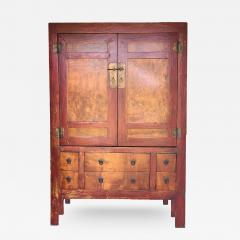 Burl Wood Cabinet Large Red And Gold   406675