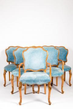 Burlwood Framed Gilt Details Dining Room Chair Set - 1037775