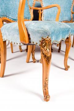 Burlwood Framed Gilt Details Dining Room Chair Set - 1037779