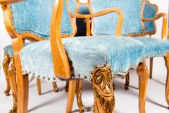 Burlwood Framed Gilt Details Dining Room Chair Set - 1037780