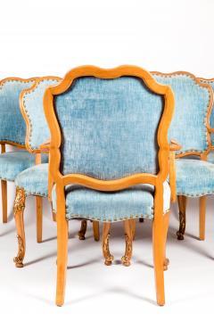 Burlwood Framed Gilt Details Dining Room Chair Set - 1037781