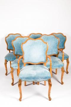 Burlwood Framed Gilt Details Dining Room Chair Set - 1037782