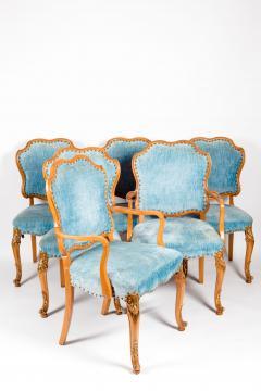 Burlwood Framed Gilt Details Dining Room Chair Set - 1037783