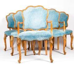 Burlwood Framed Gilt Details Dining Room Chair Set - 1037784