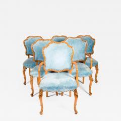 Burlwood Framed Gilt Details Dining Room Chair Set - 1039723