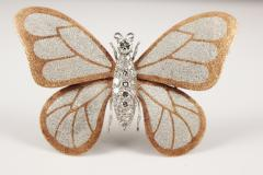 Butterfly Brooch in 18k Gold and Platinum with Diamonds - 125286