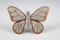 Butterfly Brooch in 18k Gold and Platinum with Diamonds - 125287