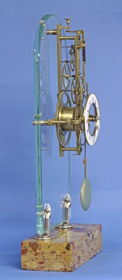 C 1850 Rare American Glass Plate Skeleton Clock - 226186