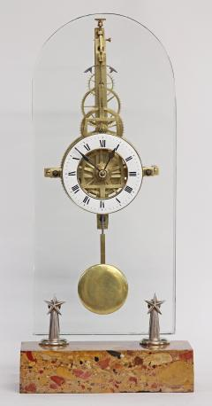 C 1850 Rare American Glass Plate Skeleton Clock - 226187
