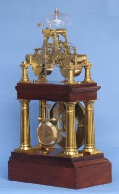 C 1880 Rare French Portico Clock with Turret Form Movement - 226192