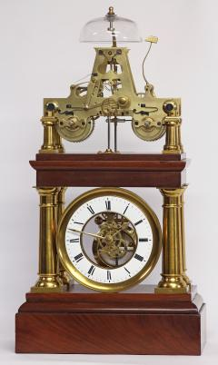 C 1880 Rare French Portico Clock with Turret Form Movement - 226193