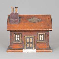 CARVED AND PAINTED HOUSE FORM BANK - 1120438