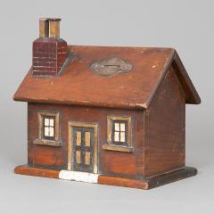 CARVED AND PAINTED HOUSE FORM BANK - 1120449