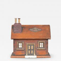 CARVED AND PAINTED HOUSE FORM BANK - 1120720